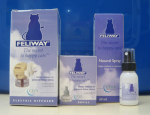 Feliway Cat calming diffusers, See DAP for dogs.  Available at Chiswick Pets