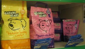 Barking heads natural dog food, Meowing heads natural cat food, Chiswick Pets.  Similar to discontinued Nutro foods